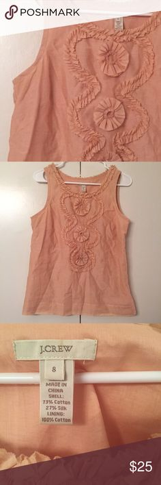 J. Crew cotton-silk ruffle swirl tank - peach Sz 8 J. Crew cotton-silk ruffle swirl tank - peach Sz 8.  Side zip.  Gorgeous color!  Perfect condition.  Great for work or play!  No trades, please.  Offers welcome.  {Last pic shows top in white.  This listing includes the peach top only!} J. Crew Tops Blouses