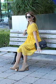 The perfect lace dress for fall!  This shade of yellow is perfect for #fallstyle…