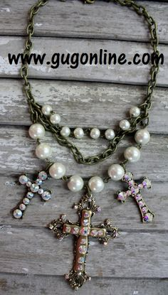 Pearl and Gold Cross Necklace Save 10% by using promo code GUGREPBRITT at checkout!  www.gugonline.com