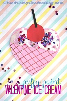Puffy Paint Valentine Ice Cream - Kid Craft
