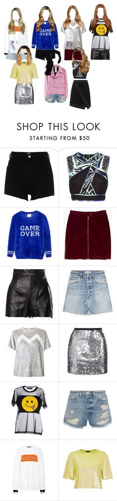 """""""Untitled #3534"""" by aurorazoejadefleurbiancasarah ❤ liked on Polyvore featuring River Island, BCBGMAXAZRIA, ElevenParis, Madewell, Moschino, RE/DONE, Ashish, Topshop, TeeTrend and Frame"""