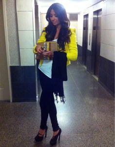 wearseesnap:  Hello yellow. Zara jacket & clutch, Citizen of Humanity jeans, & YSL shoes.