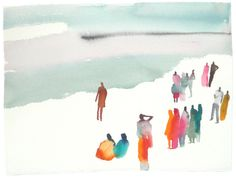 Lara Harwood.  Minimalist suggestions let the imagination fill in the beach, sky and onlookers.