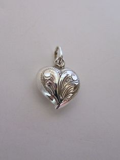 Antique Victorian Sterling Silver Engraved Puffed Heart Pendant Charm Slide Vtg