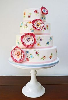 hand-painted flower cake