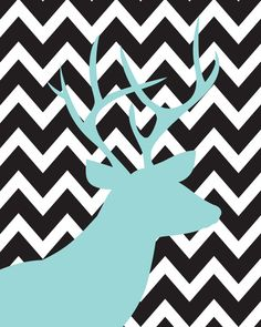 "Chevron Series: ""Trophy Room"" Black, White and Sky Blue 11x14"