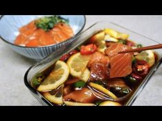 Marinated Salmon, Salmon And Rice, Salmon Recipes, Soy Sauce, Beef, Korean Style, Cooking, Food, Jewelry