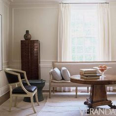 Like the millwork on walls and how the curtains blend in with the wall color
