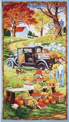 Wilmington Prints. Bringing in the Harvest Panel - Quilting Panel