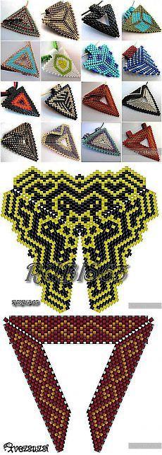 Треугольнички из бисера - схемы / Бисероплетение, поделки и украшения из бисера, мастер классы и схемы / КлуКлу. Рукоделие - бисероплетение, квиллинг, вышивка крестом, вязание