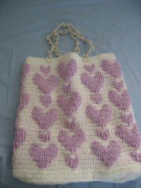 ♥ⓛⓞⓥⓔ♥ Lavender Raised Stitch Heart Purse. Free Crochet Pattern