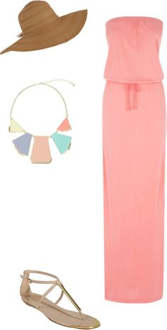 Styled: Not Another Summer Day / salmon/coral maxi dress / geometic necklace / floppy hat / gold sandals