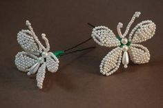 Handmade Hair Jewelry Pin Cute Butterfly Tembleques, White Pearl Panama, Hair Accessory, White Plastic Pearl Beads