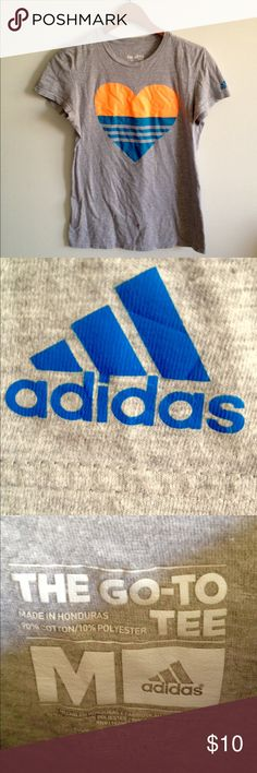 Adidas heart go to T-shirt size M This t shirt has only been worn twice and has so much life left in it, offers are welcome Adidas Tops Tees - Short Sleeve