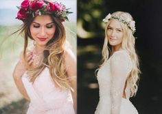 Olha só esses penteados super românticos com tiaras de flores :) #penteados #cabelo #hair #tiara #flores