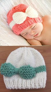Twenty Something Granny: Knitted Baby Bow Hat. Man if I knew how to knit I would be making these and using them instead of headbands.