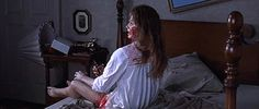 """Pin for Later: Don't Look at These Horror Movie GIFs With the Lights Off The Exorcist (1973) """"Going somewhere?"""""""