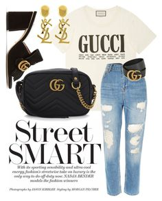 """G U C C I"" by tillythomas on Polyvore featuring Gucci, River Island and Yves Saint Laurent"