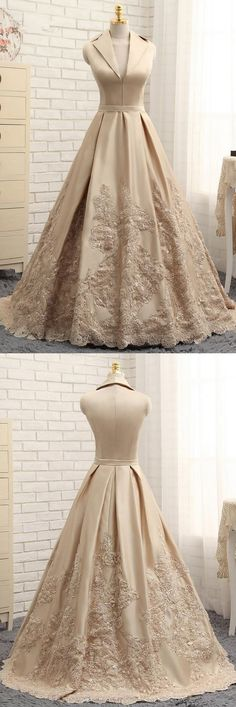 A-line Prom Dress,V-neck Prom Dresses,Cap Sleeves Evening Gown,Satin Prom Dresses,Appliques Prom Gown,Long Prom Dress,Formal Evening Dresses #formal #evening #satin #champagne #appliques #okdresses