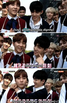 Jeonghan's probably silently hating life in the last one. JEONGCHEOL MUST BE REAL
