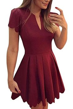 Sidefeel Women Cute V Neck Sweet Scallop Pleated Skater Dress at Amazon  Women s Clothing store  4d8576eab