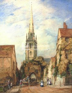 John Flower Watercolour showing the approach to the Turret Gateway and spire of St Mary de Castro Leicester, Watercolor Flowers, Medieval, Saints, England, Mary, Paintings, History, Architecture