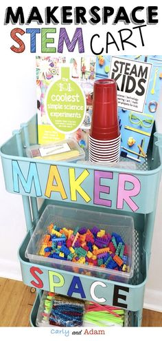 Ready to add a makerspace to your classroom but short on space?! The makerspace cart makes it easy to share STEM and STEAM resources between classes while saving space! #makerspace #STEM #STEAM