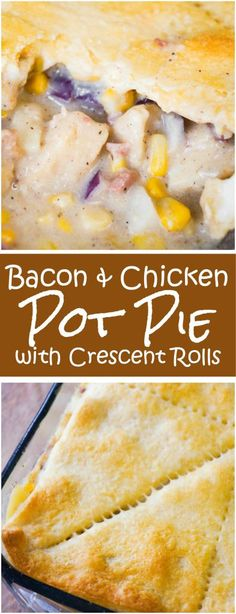 Bacon Chicken Pot Pie with Crescent Rolls is an easy chicken casserole recipe perfect for cold weather. This hearty comfort food dish is loaded with chicken nuggets real bacon bits and potatoes in a Pillsbury Crescent Roll Crust. Crescent Rolls, Chicken Bacon, Chicken Casserole, Chicken Recipes, Casserole Dishes, Casserole Recipes, Breakfast Casserole, Breakfast Recipes, Dinner Recipes