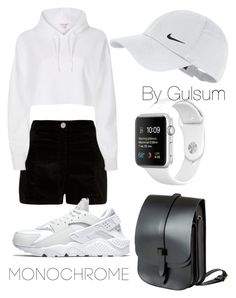 """Monochrome by Gul"" by gulsumaliyeva ❤ liked on Polyvore featuring Lost Property of London, River Island, NIKE and monochrome"