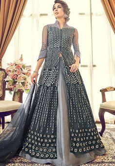 Buy Deep Grey Satin Lehenga with Satin Choli - Lehenga Choli for Women from Andaaz Fashion at Best Prices. Lehenga Choli, Robe Anarkali, Lehenga Style, Anarkali Suits, Indian Designer Outfits, Indian Outfits, Indian Clothes, Saris, Salwar Kameez