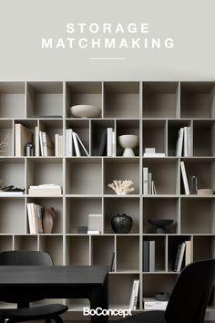 Find your storage match Danish Furniture, Scandinavian Furniture, Modern Furniture, Furniture Design, Shelving Design, Bookshelf Design, Boconcept, Home Office Design, Display Shelves