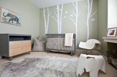 forest theme nursery | ... forest. These pretty wall decals and elephant side-table aren't
