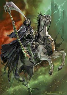 The Four Horsemen Of Apocalypse by on DeviantArt Don't Fear The Reaper, Grim Reaper Art, Dark Fantasy Art, Dark Art, Evvi Art, Pale Rider, Reaper Tattoo, Pale Horse, Skull Art