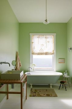 pale green bathroom