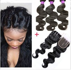 Body Wave Lace Closure 4*4 Brazilian Closure+3 Bundles Body Wave Human Hair Weft