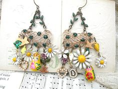 summer daisy earrings charm assemblage found by lilyofthevally