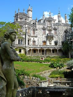 Quinta da Regaleira - Sintra, Portugal Hermes in the foreground Ericeira Portugal, Sintra Portugal, Visit Portugal, Spain And Portugal, Portugal Travel, Algarve, Beautiful Castles, Beautiful Places, Travel Pictures