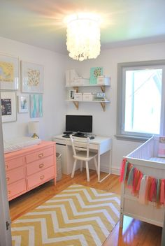 This couple converted their office/spare bedroom into a lovely office and nursery. Great use of space and all done on a tight budget.