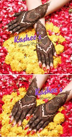 Design by kashee 's beauty parlour Kashee's Mehndi Designs, Pakistani Henna Designs, Stylish Mehndi Designs, Mehndi Design Pictures, Wedding Mehndi Designs, Beautiful Henna Designs, Henna Tattoo Designs, Indian Mehendi, Kashees Mehndi
