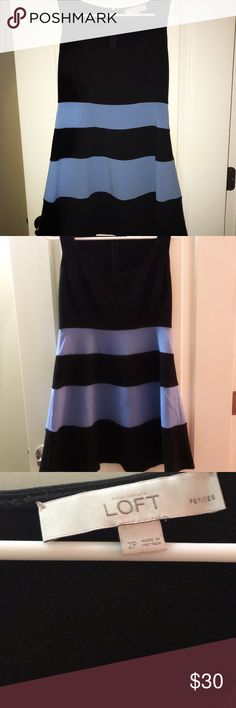 Ann Taylor Dress EUC - Petites Collection Dress with hidden side zipper. Color is black and light blue. Will likely need to be dry cleaned but no defects! Included pictures with and without flash. Ann Taylor Dresses Mini