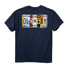 OLD BAY® - License Plate T-Shirt.  Check out this awesome OLD BAY tee! It features classic Maryland license plates arranged to give homage to our favorite seafood seasoning.