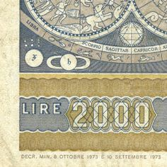 Italian 2000 Lira note detail