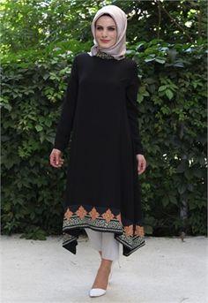 Beyhan Sırt İşlemeli Tunik-Siyah-6679