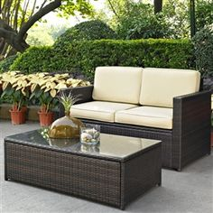 2-Piece Outdoor Patio Furniture Set with Loveseat and Glass Top Table - Furnishdream.com- Online Store for Furniture, Home Decor, and more...
