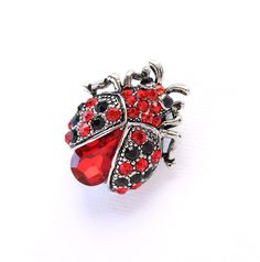 Ladybug Brooch Red Lady Bug Broach Pin Crystal by PinkFoxFindings