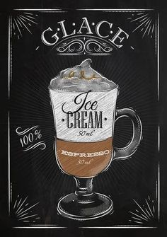 Poster coffee glace in vintage style drawing with chalk on the blackboard - buy this vector on Shutterstock & find other images. Coffee Chalkboard, Coffee Menu, Chalkboard Art, Coffee Drinks, Coffee Cake, Coffee Tables, Coffee Facts, Coffee Quotes, I Love Coffee