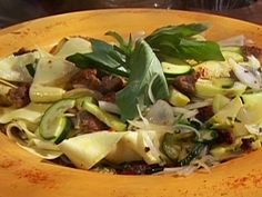 Zucchini and Squash Pasta with Sweet Italian Sausage and Pappardelle recipe from Emeril Lagasse via Food Network