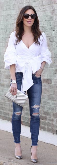 White Blouse / Ripped Skinny Jeans / Grey Pumps.ESMERELDA WRAP TOP White Tshirt Trending Summer Spring Fashion Outfit to Try This 2017 Great for Wedding,casual,Flowy,Black,Maxi,Idea,Party,Cocktail,Hippe,Fashion,Elegant,Chic,Bohemian,Hippie,Gypsy,Floral
