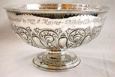 "A English STERLING SILVER 10"" PUNCH BOWL HORSE-RACING TROPHY, dated 1900"