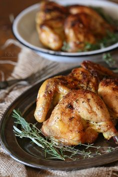 This lemon herb spatchcock Cornish hen is the perfect way to evenly cook Cornish hens. Simply cut, lay flat and rub with lemon herb butter. Cooking Cornish Hens, Cornish Hen Recipe, Holiday Recipes, Dinner Recipes, Good Food, Yummy Food, Lemon Herb, Herb Butter, Main Meals